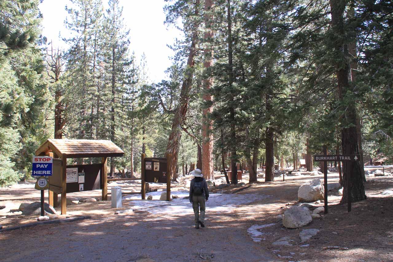 Julie walking through the empty Buckhorn Campground
