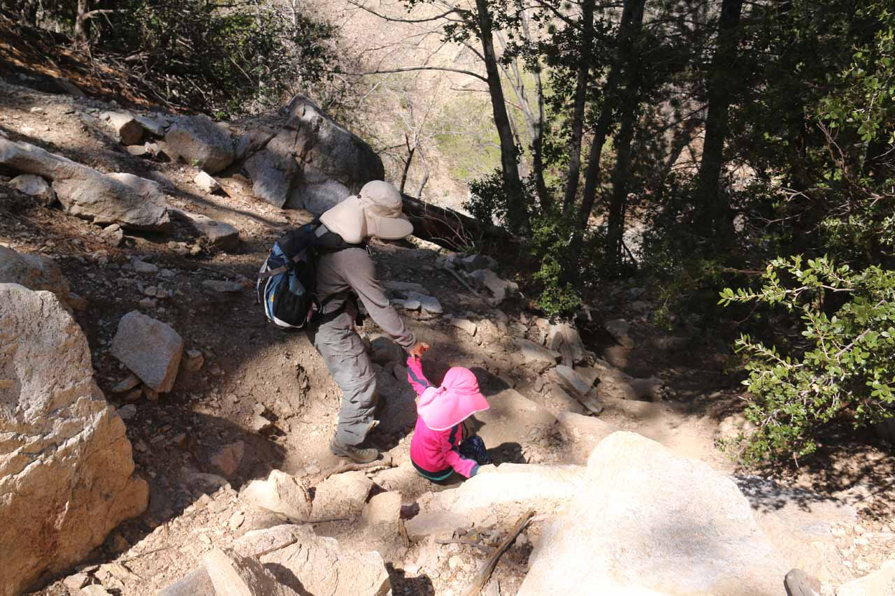 On one of our most recent visits where we brought our daughter, we forgot about the easier use-trail to descend into the steep gully and took this even steeper trail-of-use instead