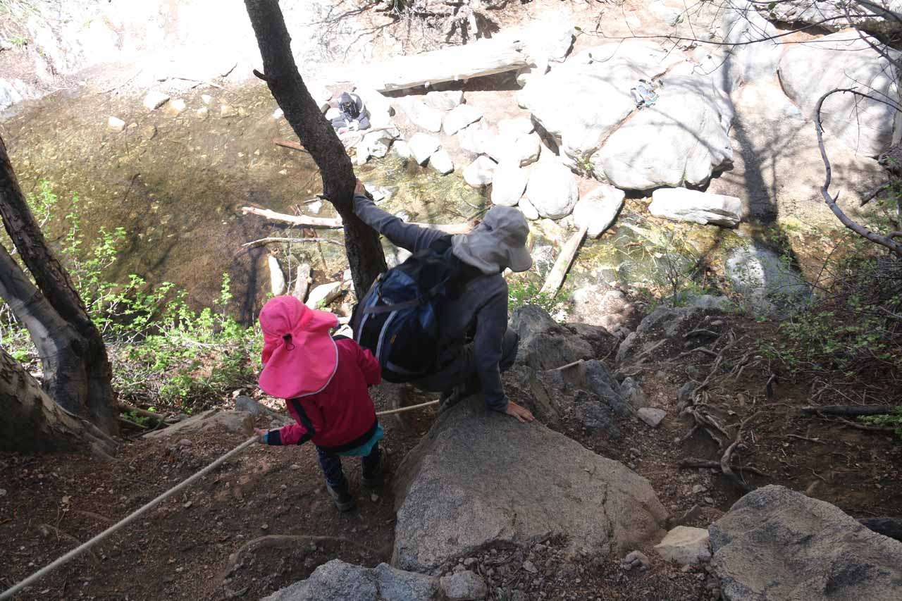 With a five-year-old, we had to pay extra attention to this steep rope-assisted descent, but we managed and our girl didn't seem to mind the scramble all that much