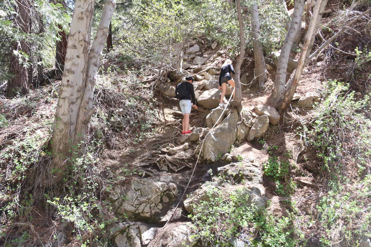 Once we got to the bottom, we were able to look back at other people making the steep scramble down to the base of Cooper Canyon Falls