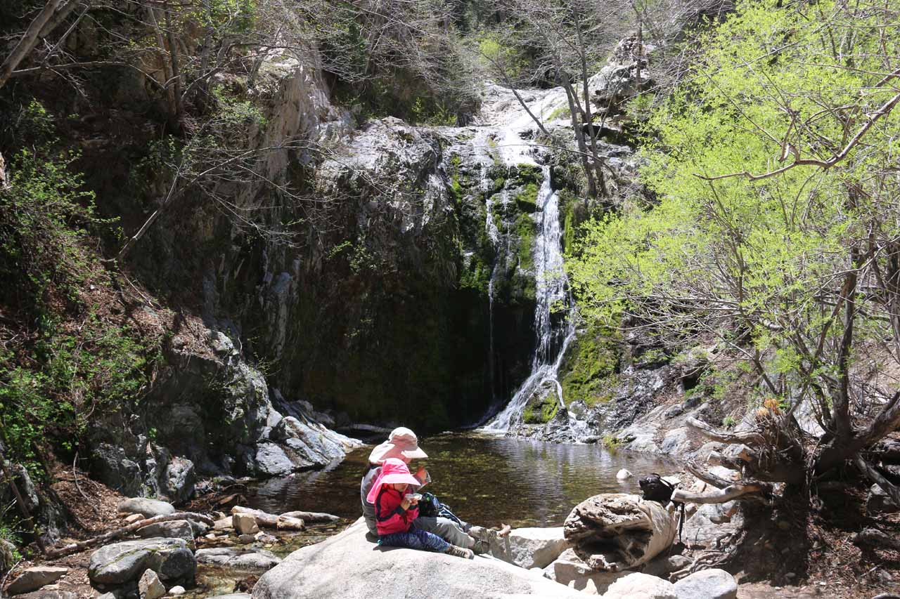 Julie and Tahia enjoying a well-earned picnic at the base of Cooper Canyon Falls in fairly low flow