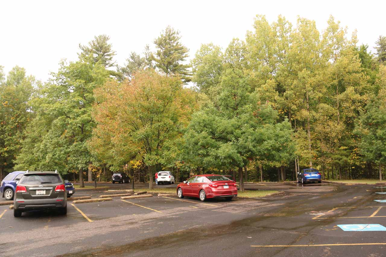 The large car park at Copper Falls State Park
