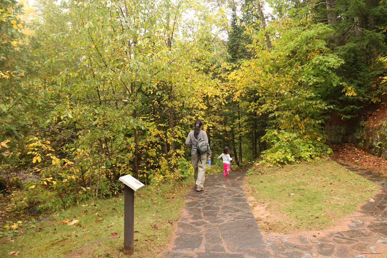 Julie and Tahia on the well-developed walkway at Copper Falls State Park