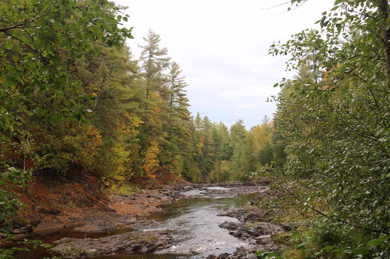 Looking upstream at the Bad River, which was responsible for Copper Falls