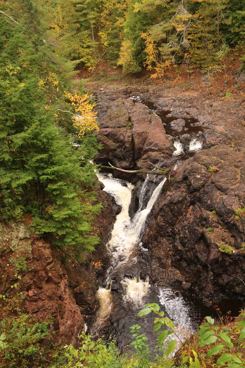Looking down at part of Copper Falls from the bridge