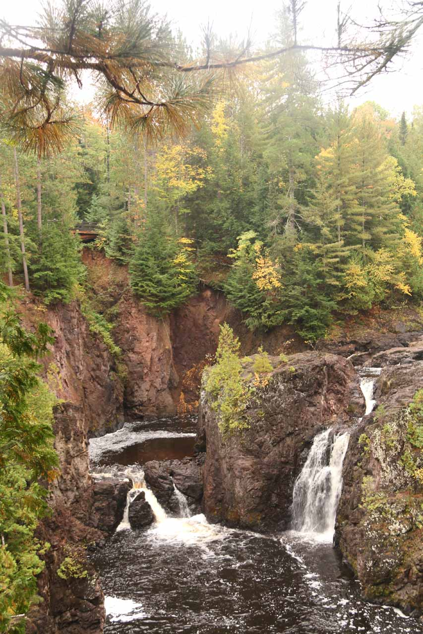 Less than a half-hour drive from Potato River Falls was the Copper Falls State Park, which featured a pair of notable waterfalls, including the namesake Copper Falls shown here