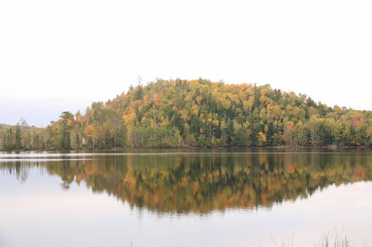 Near the entrance to Copper Falls State Park (25 miles south of Superior Falls), we caught a glimpse of the attractive and calm Loon Lake, which produced beautiful reflections amidst some Fall colors