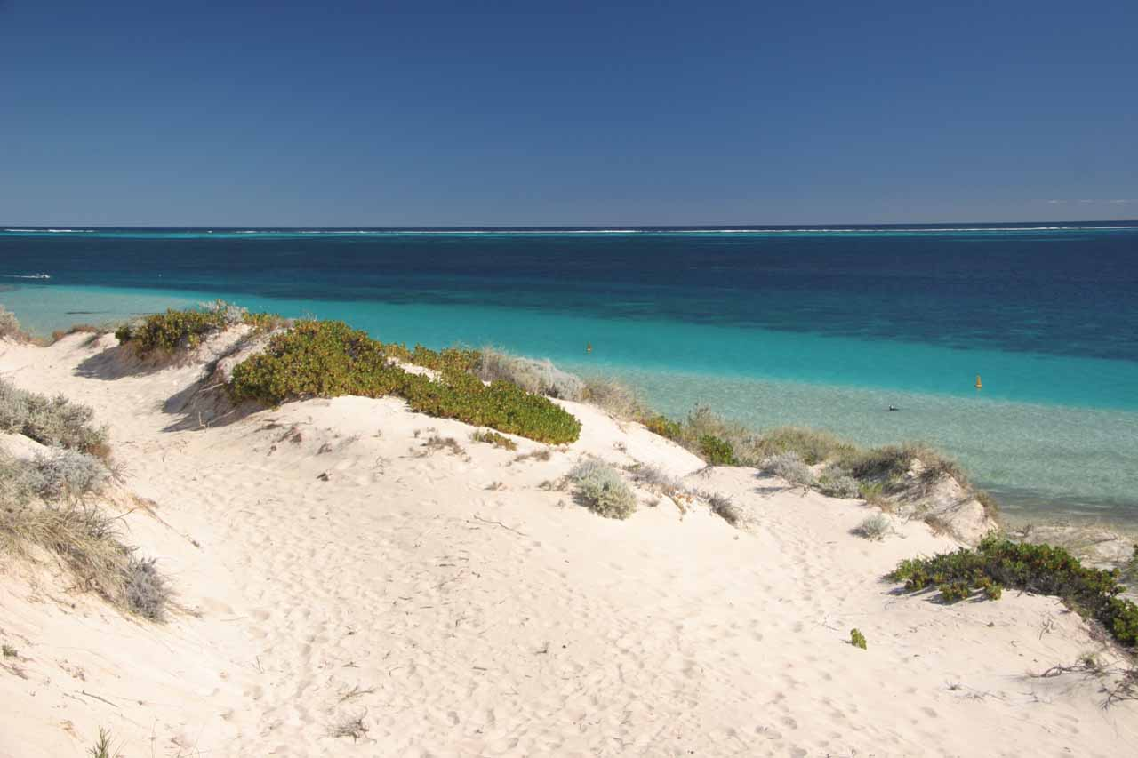 Looking over some gorgeous white sands towards the turquoise waters of the Ningaloo Reef