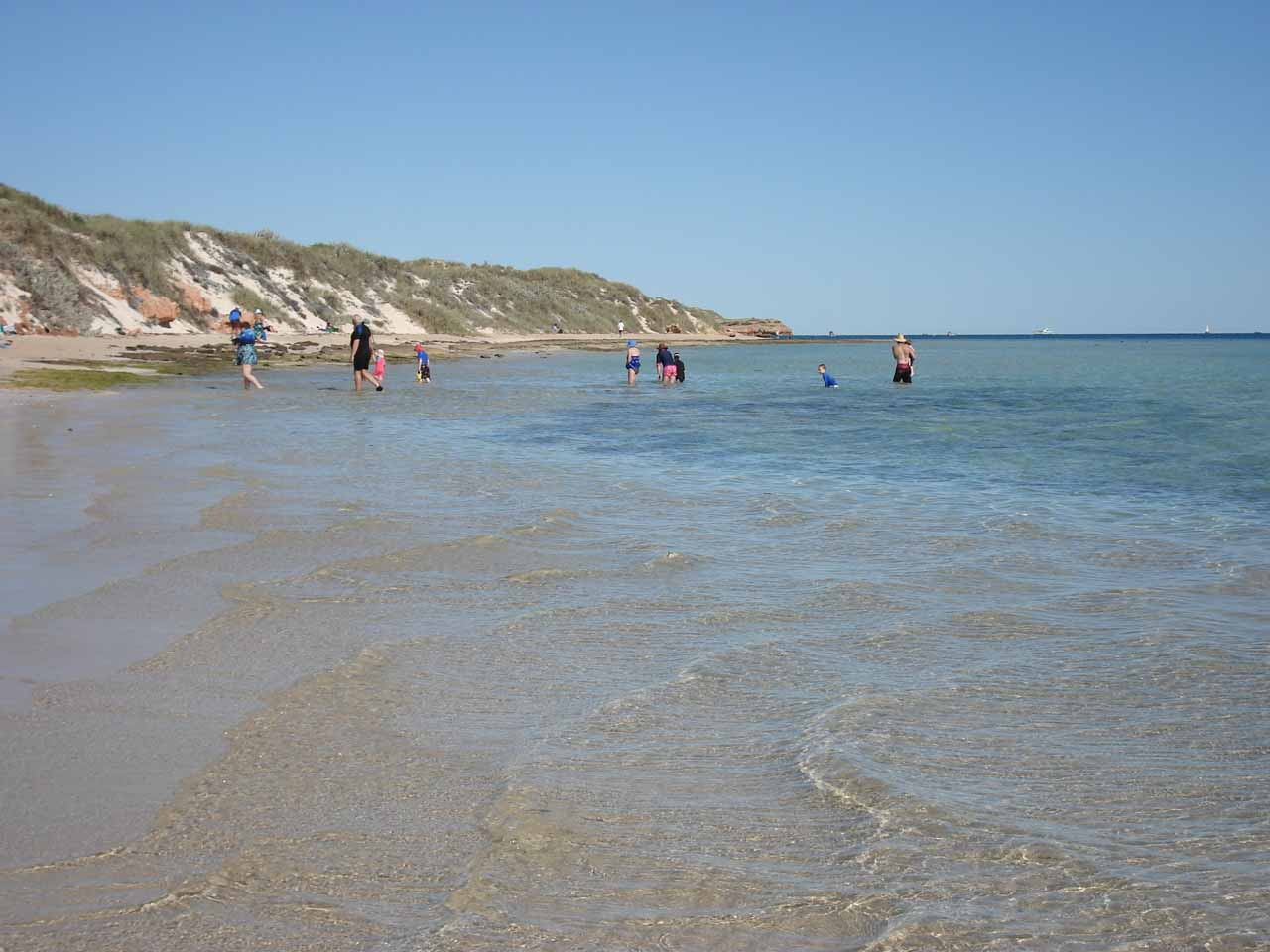 People playing in the shallow waters of the Ningaloo Reef