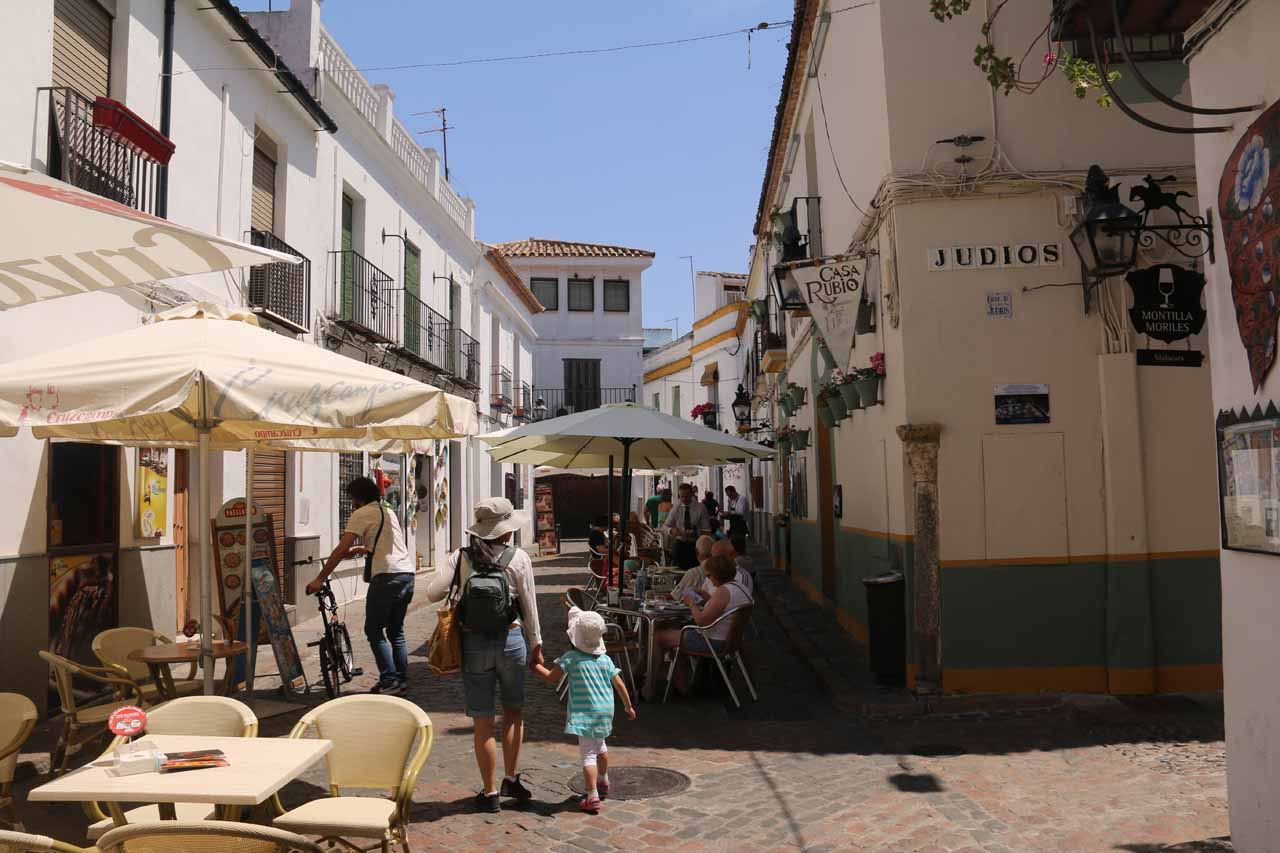 Julie and Tahia entering a charming and bustling part of Cordoba that turned out to be the Old Jewish Quarter or La Juderia