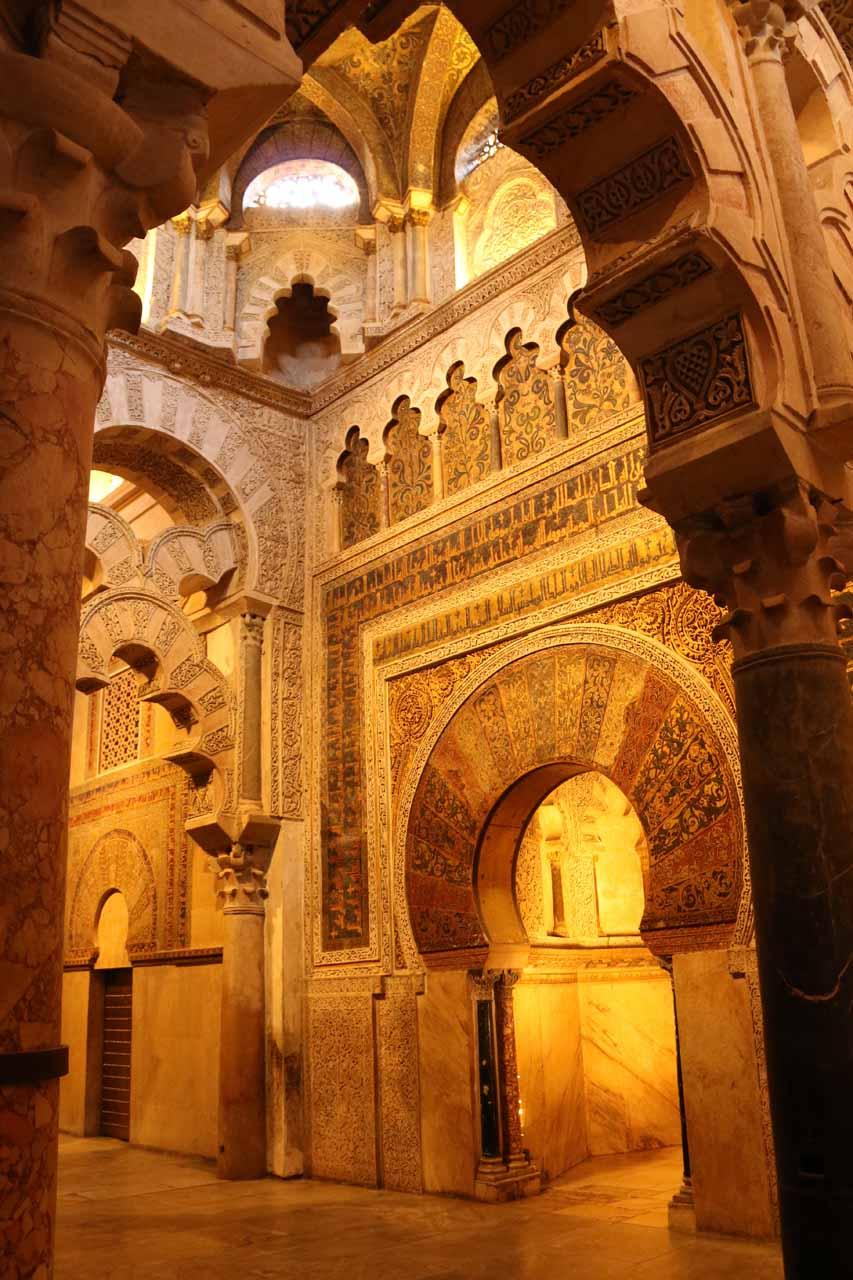 Angled look at the popular golden prayer room inside la Mezquita