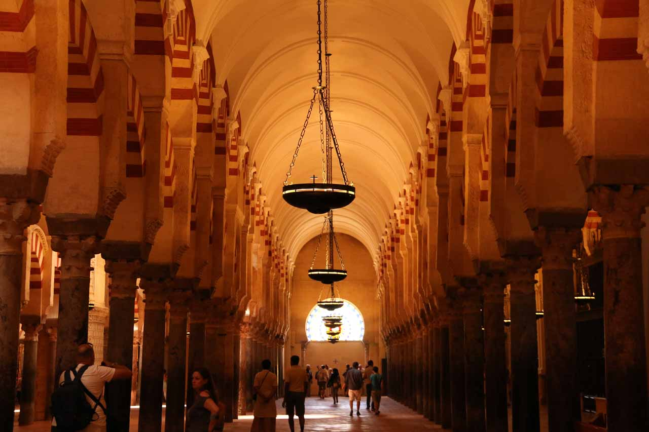 One of the more open hallways within the Mezquita