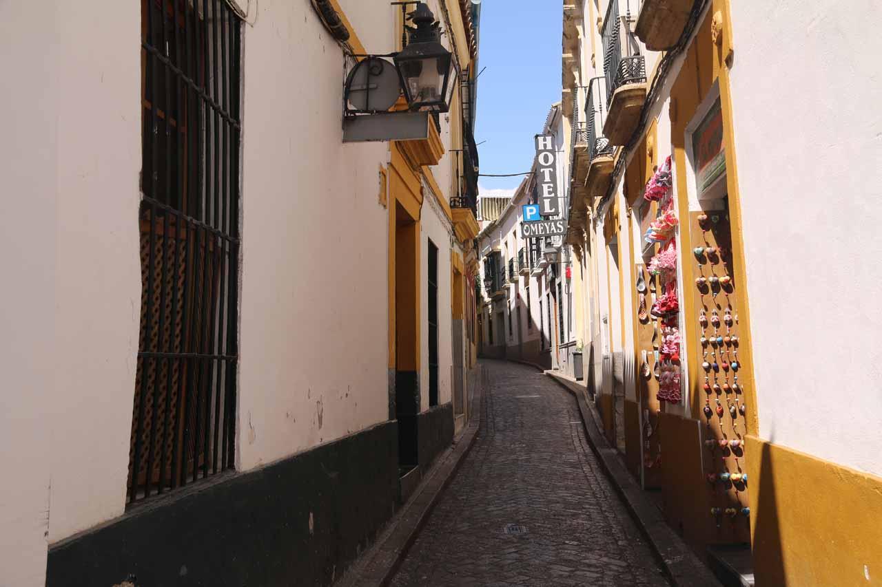 Walking some narrow alleyways of La Juderia as we went looking a teteria