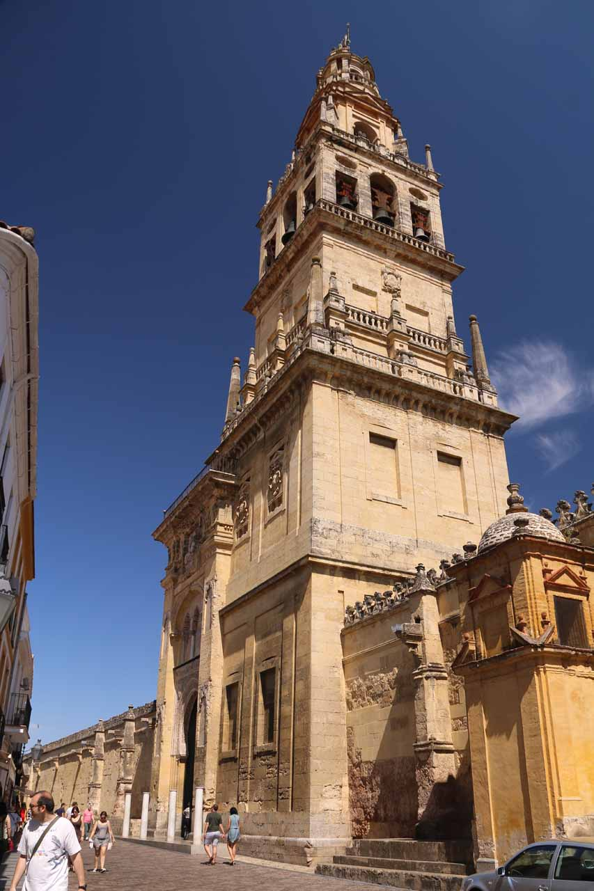 Looking back at the bell tower of la Mezquita