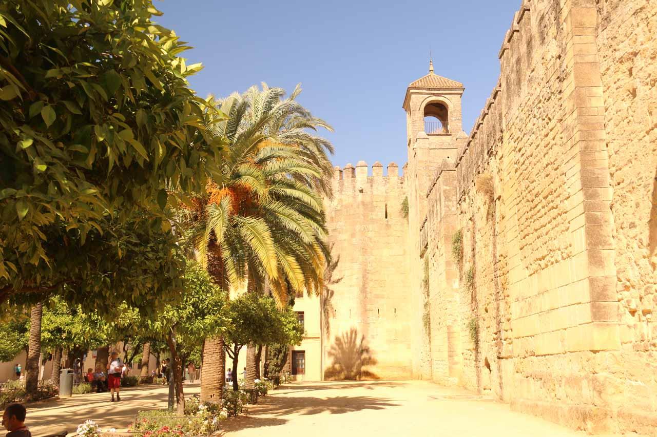 Looking along the perimeter of the Alcazar de los Reyes Cristianos