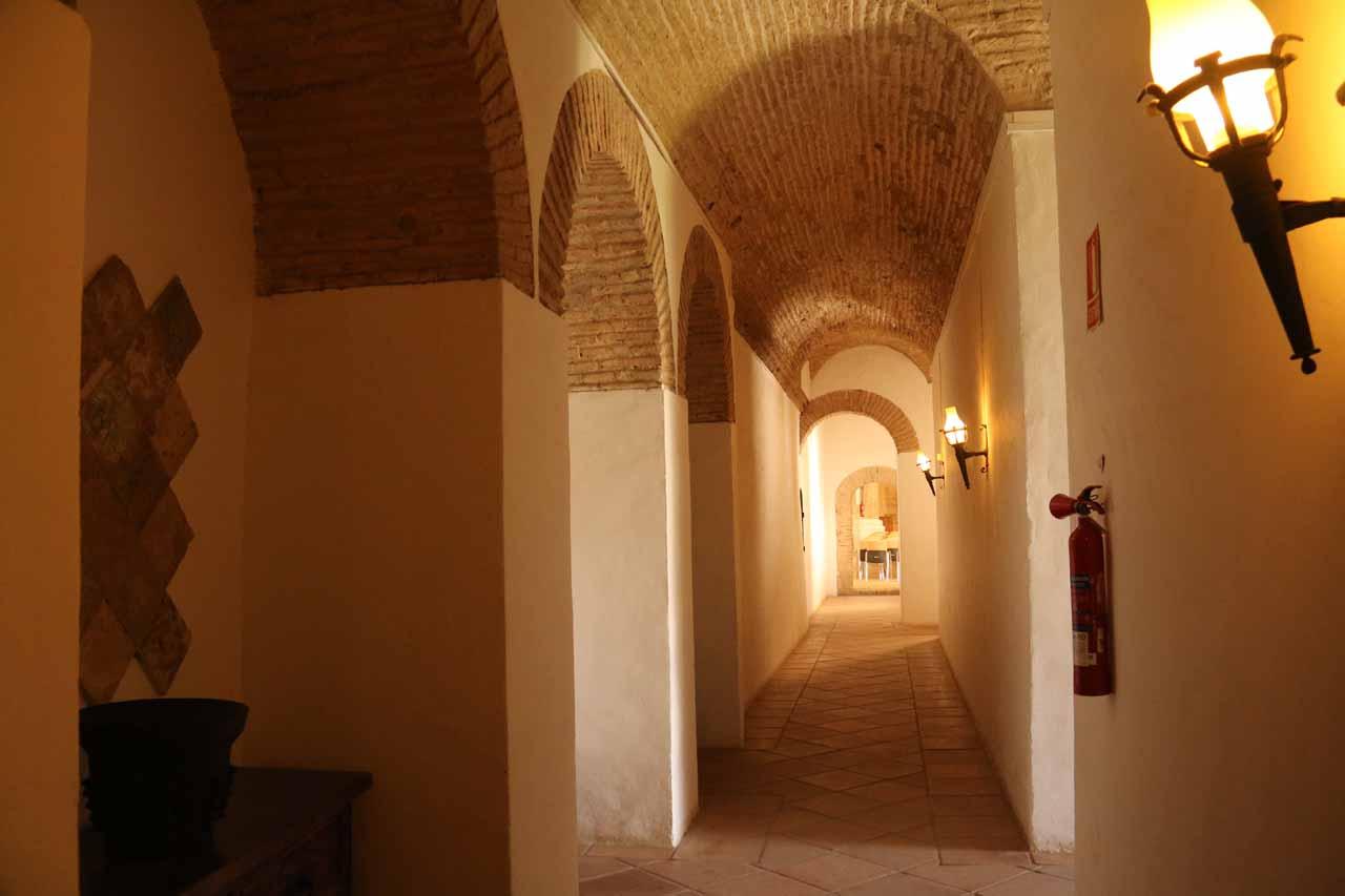 Walking one of the hallways of the Alcazar de los Reyes Cristianos