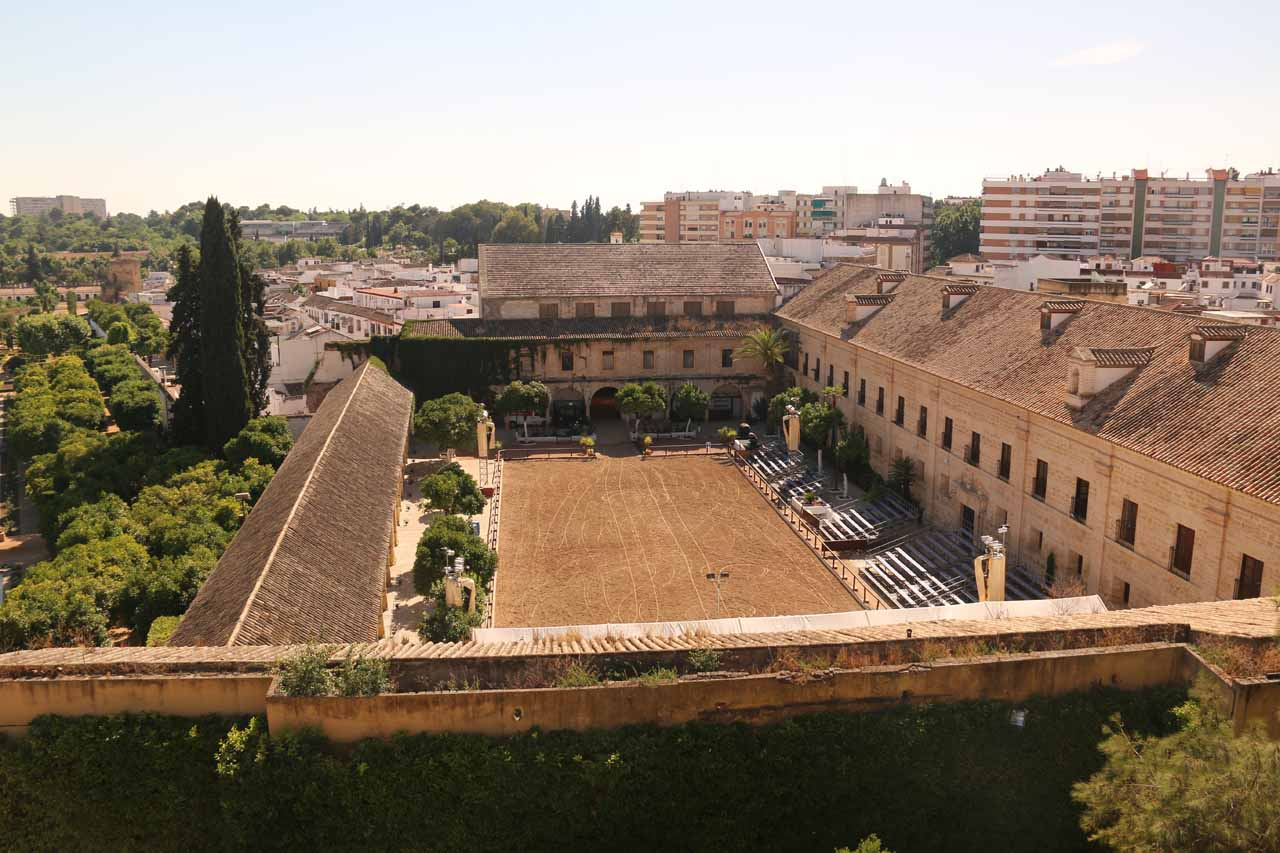 View from the tower of the Alcazar looking towards some dirt field