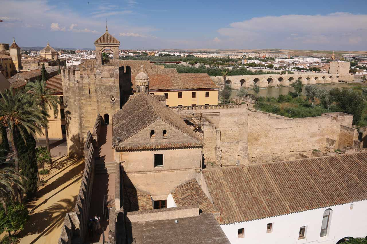 Looking towards the rest of the Alcazar de los Reyes Cristianos from the tower