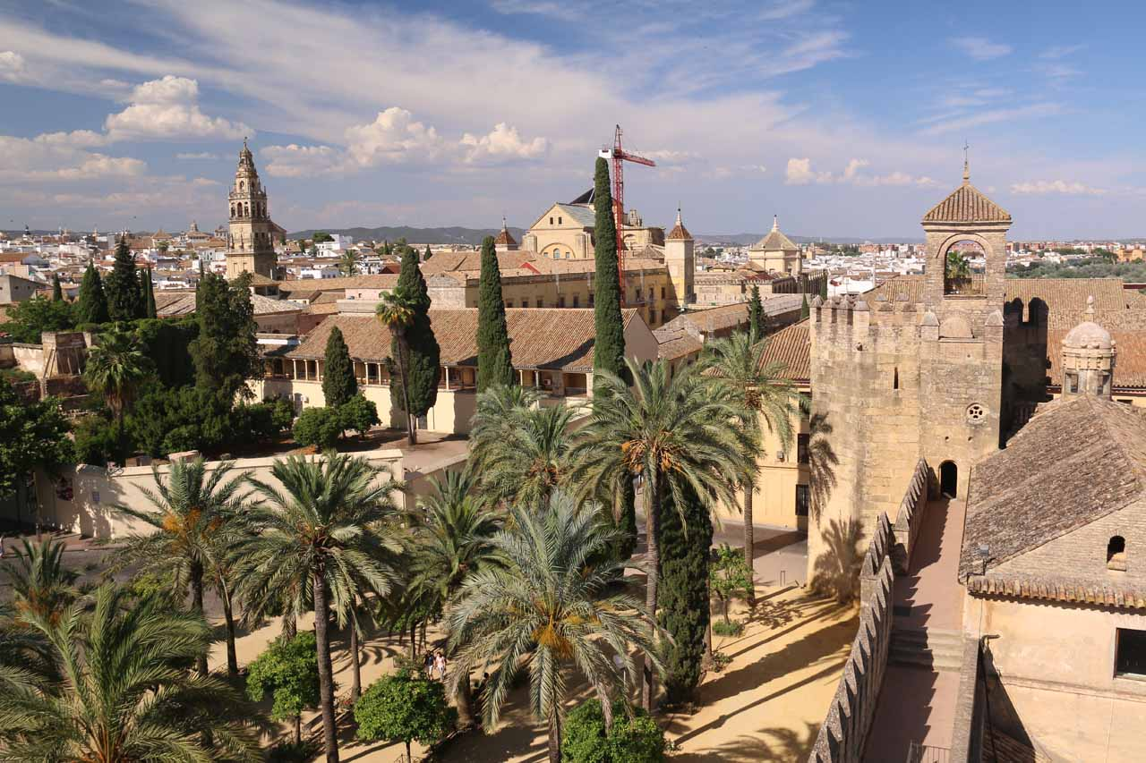 Looking towards the Jewish Quarter and Mezquita from the tower of the Alcazar de los Reyes Cristianos