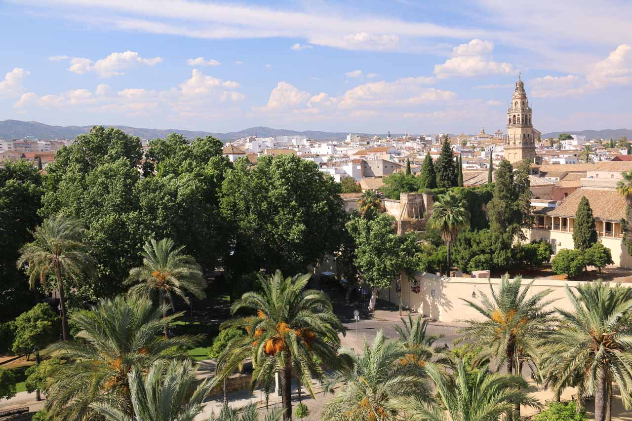 Looking towards the garden fronting Cordoba's Alcazar from its tower