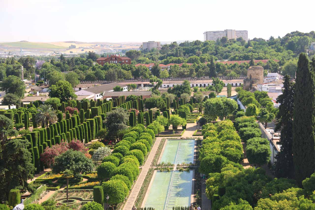 Looking towards the extensive garden of the Alcazar from the tower