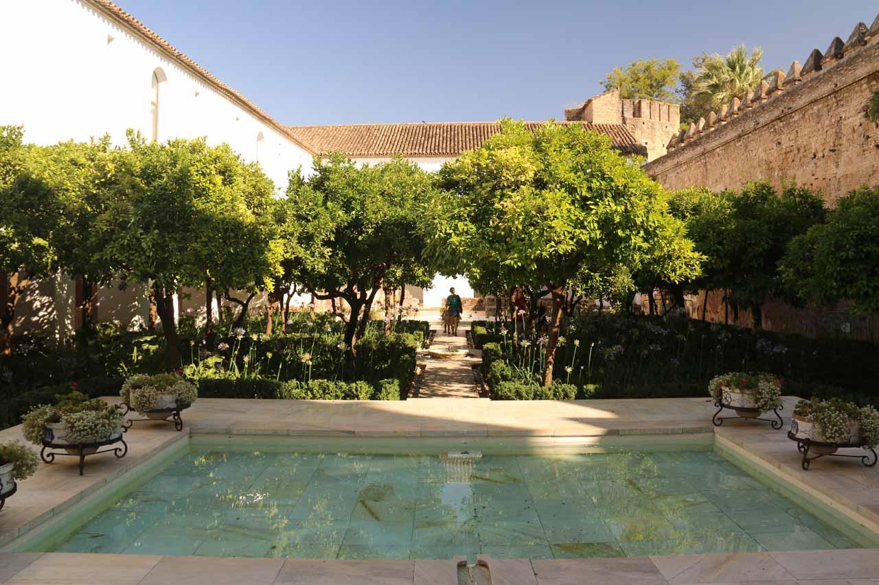 Inside the courtyard within the Alcazar de los Reyes Cristianos