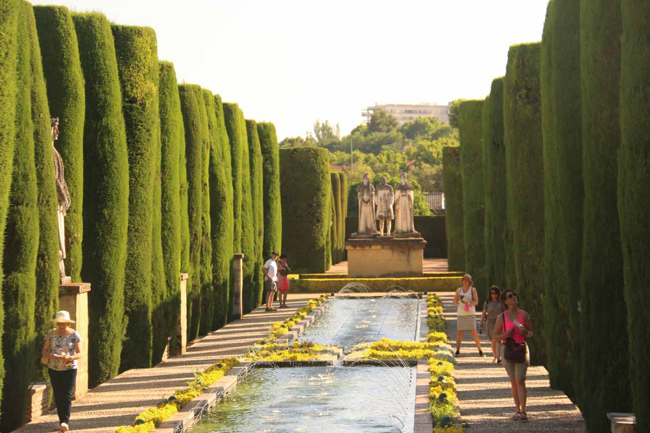 Another series of ponds and fountains flanked by tall hedges reminiscent of the Generalife in Granada's Alhambra