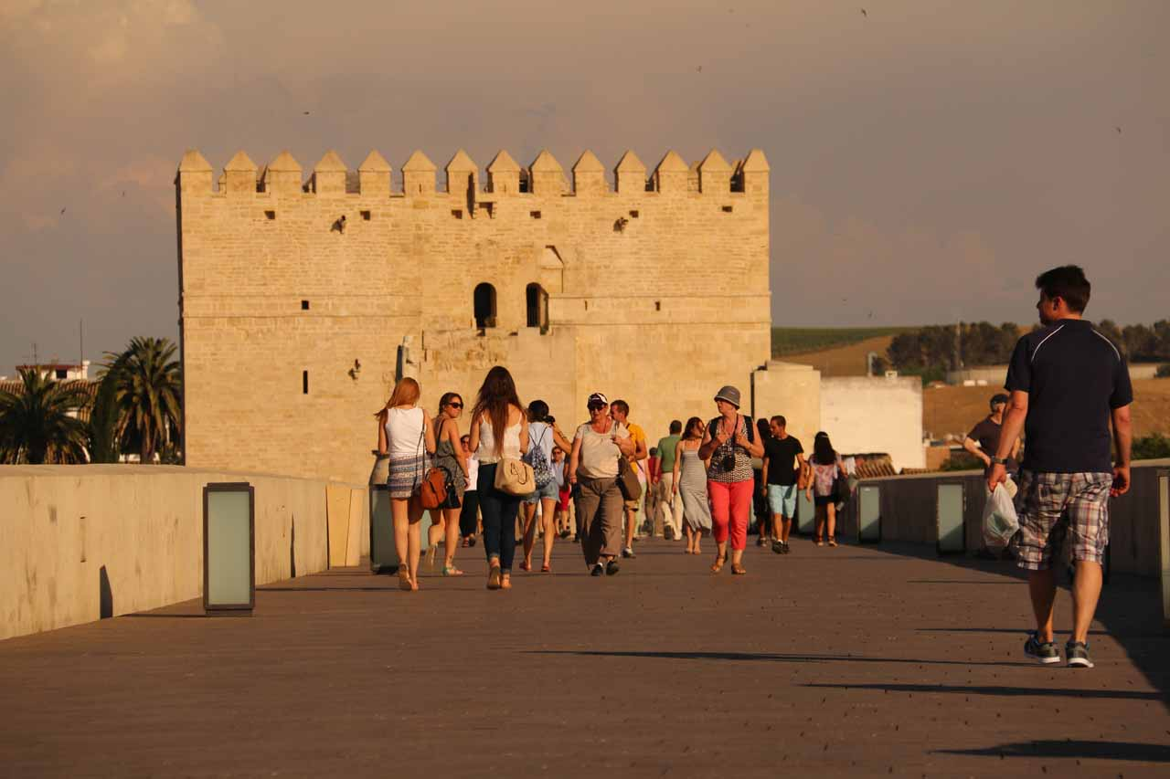 Looking towards the other side of the Roman Bridge as it was definitely busy with pedestrians despite the hot sun