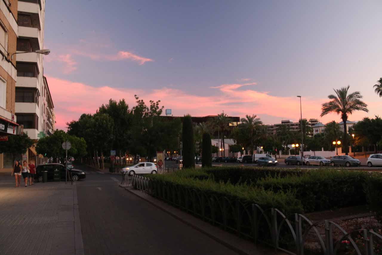 Back at the Paseo de la Victoria right at sunset as the clouds were lighting up pink