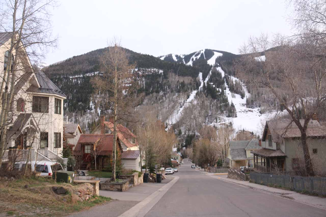 Looking back at North Aspen Street from where I found street parking to do the Cornet Falls hike