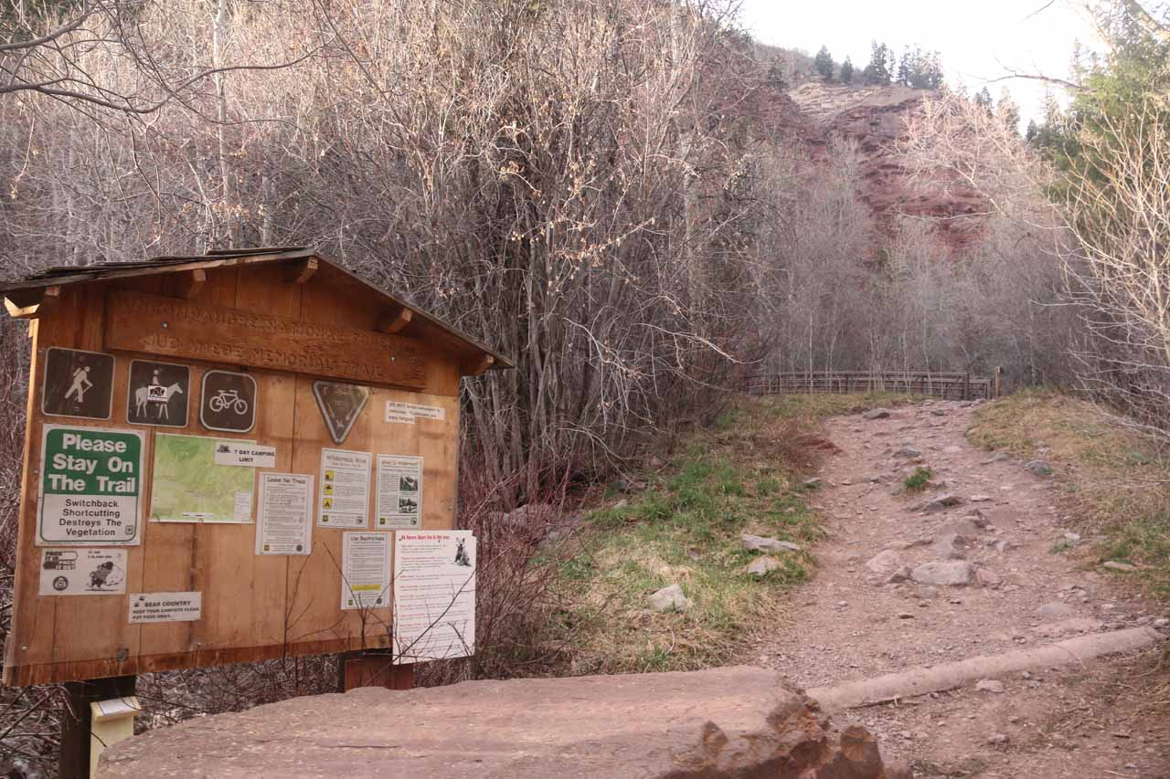 There was trailhead signage at the end of the North Aspen Street pavement