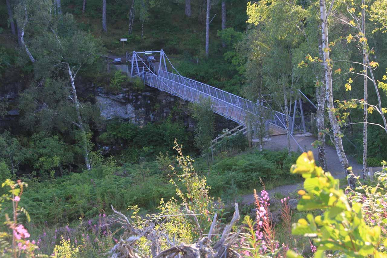 Looking down at the suspension bridge