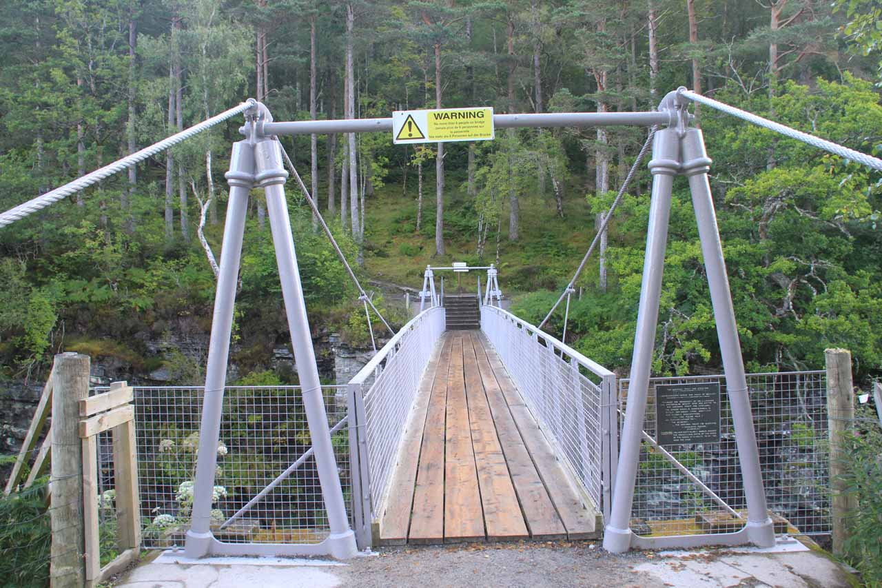 About to walk on the bouncy suspension bridge above the Corrieshalloch Gorge