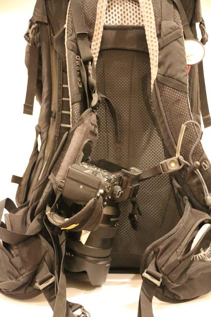 Cotton CCS G3 Strapshot Holster with an engaged Sony Mirrorless Camera attached to one of the straps of my Osprey Daypack