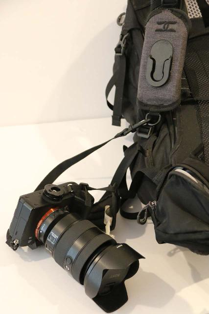 Cotton CCS G3 Strapshot Holster with the tether attached to a Sony Mirrorless Camera
