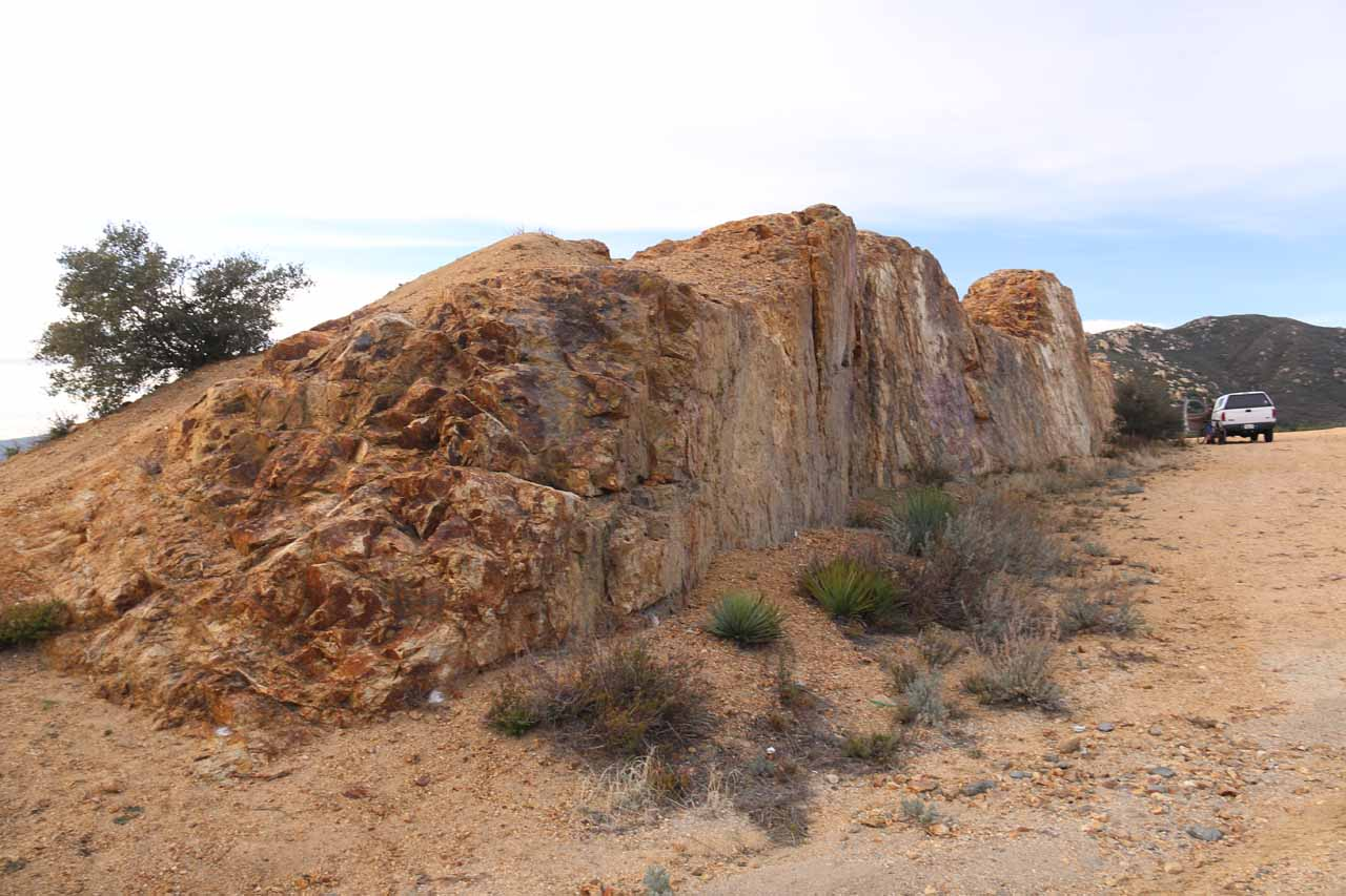 This was the big elongated rock that Ann Marie Brown wrote in her book had a graffiti-covered rock wall. Clearly, that graffiti had since been cleaned up