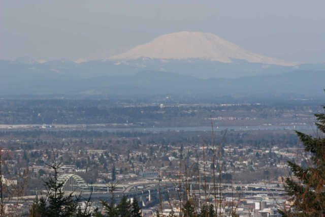 Council_Crest_027_04042009 - Portland and the Columbia River Gorge was probably around a half-hour or so from each other, so on a nice day, clear views like this of the major volcanoes could be seen