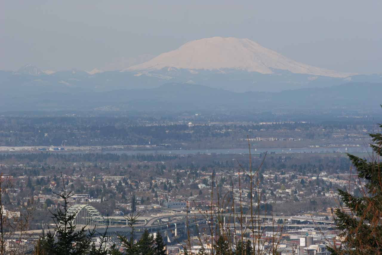 Speaking of volcanoes, seen here from Council Crest in Portland is also Mt St Helens, which was about a 2-hour drive north across the border into Washington State