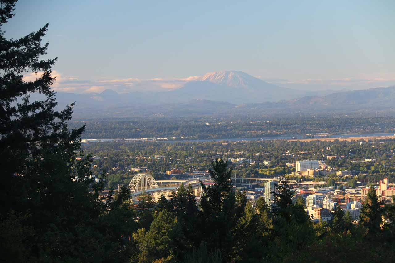Up the hills from downtown Portland was the Council Crest Park where we were able to spot at least three (maybe four on a clear day) of the volcanos around the city like Mt St Helens shown here