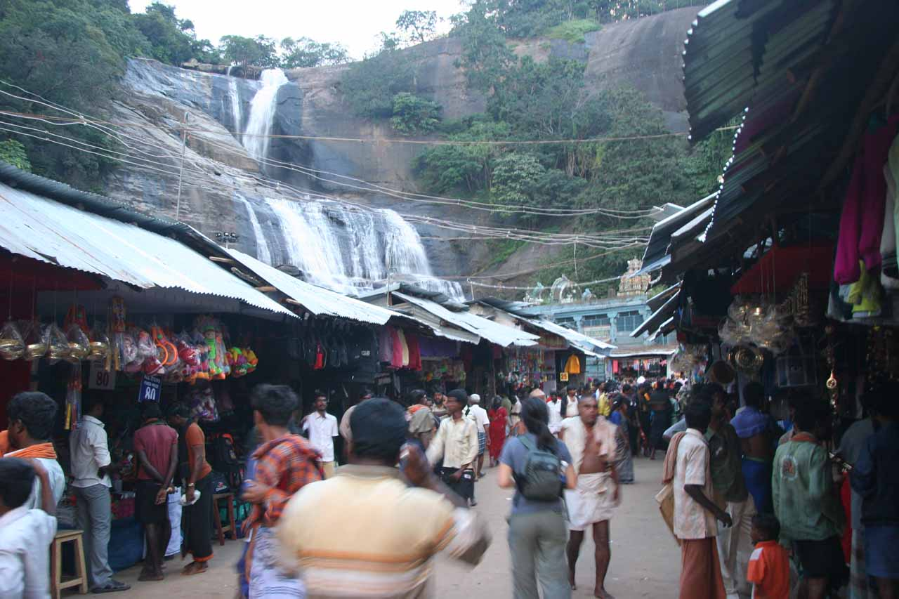 One of our most atmospheric waterfalling experiences was through a busy market en route to the Courtallam Main Falls in Tamil Nadu, India