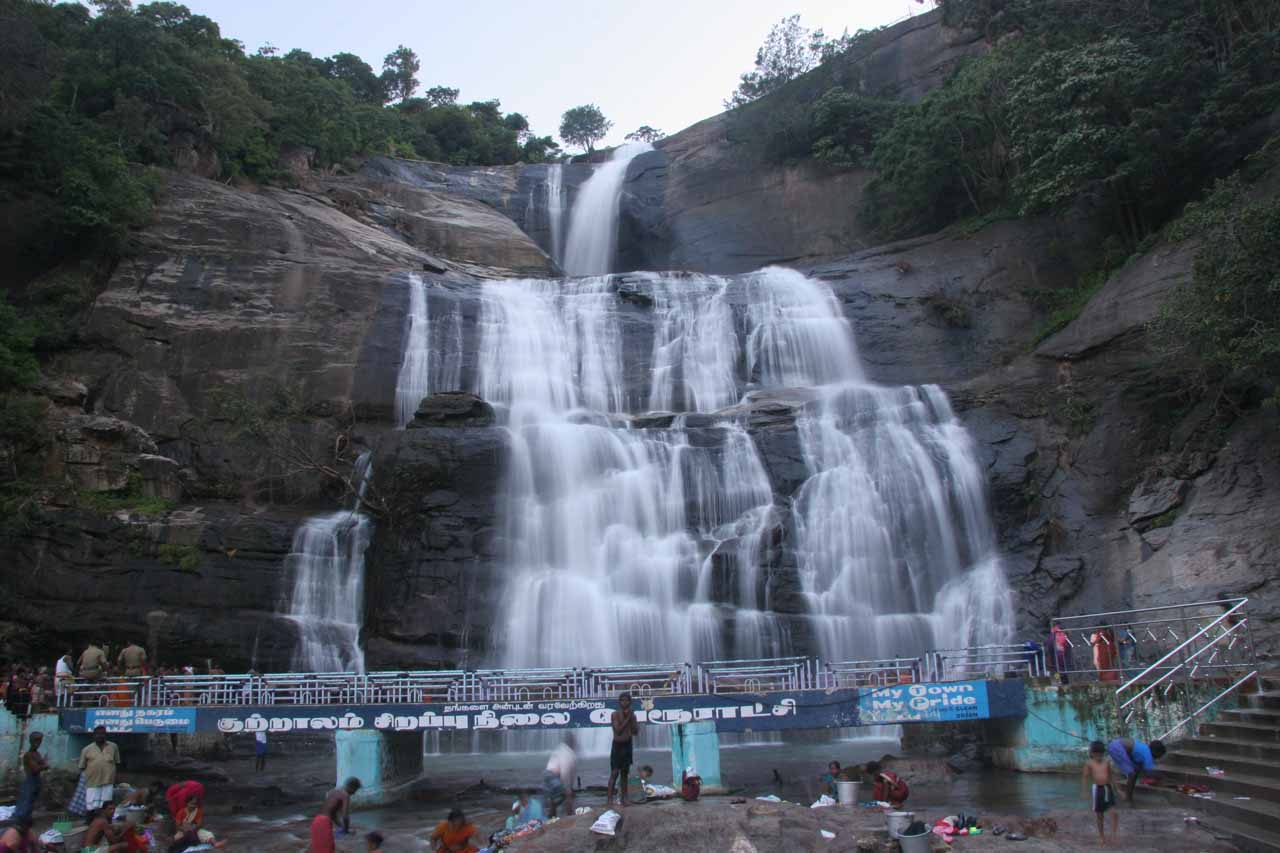 Direct view of the Courtallam Main Falls from near the women only side