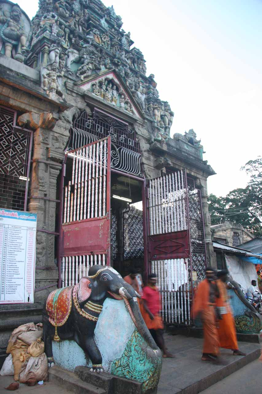 One of the entrances to the Hindu temple