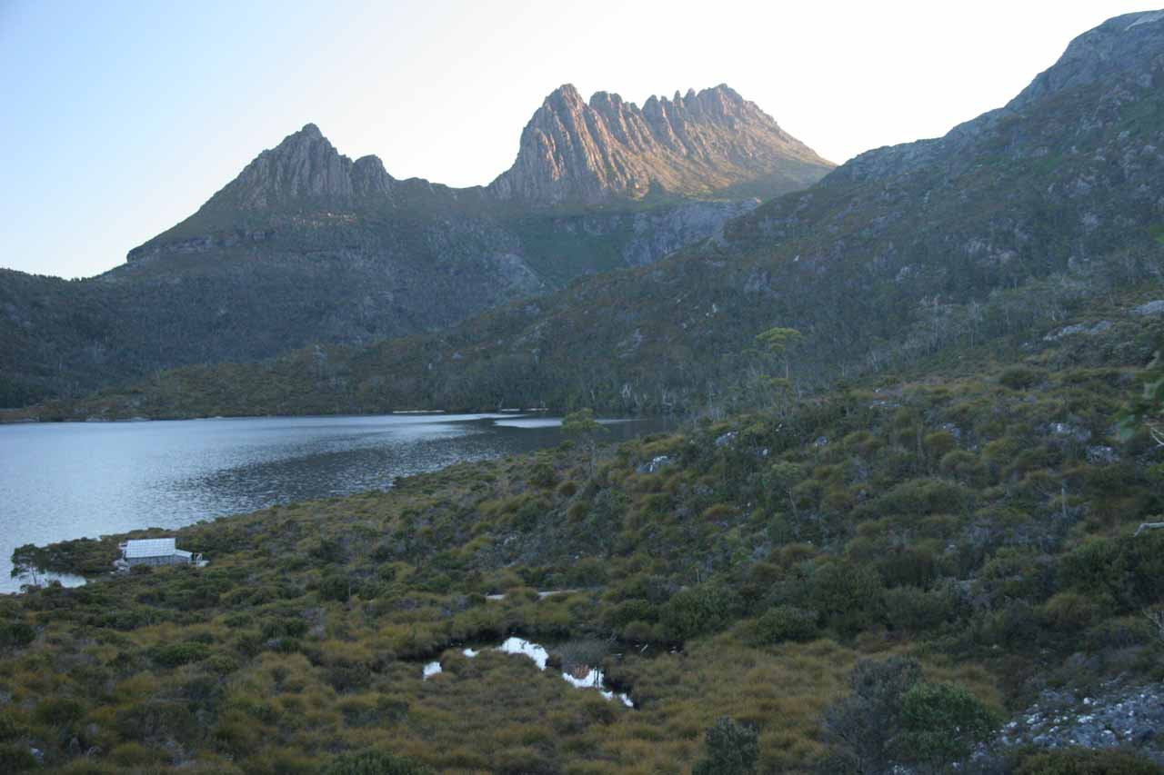 Shadowy view of Cradle Mountain and Dove Lake