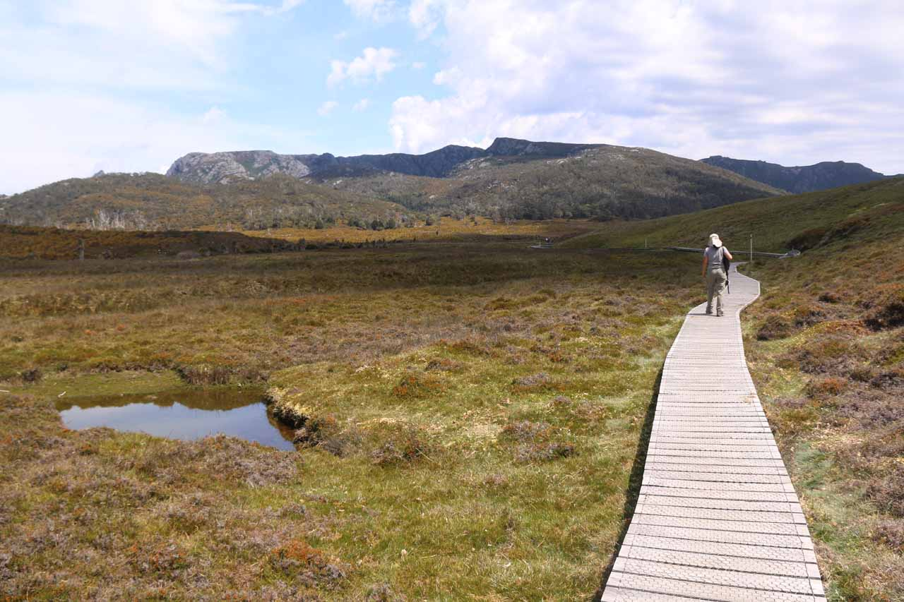 Julie on the boardwalk through this buttongrass moor on the way to Crater Falls and Crater Lake