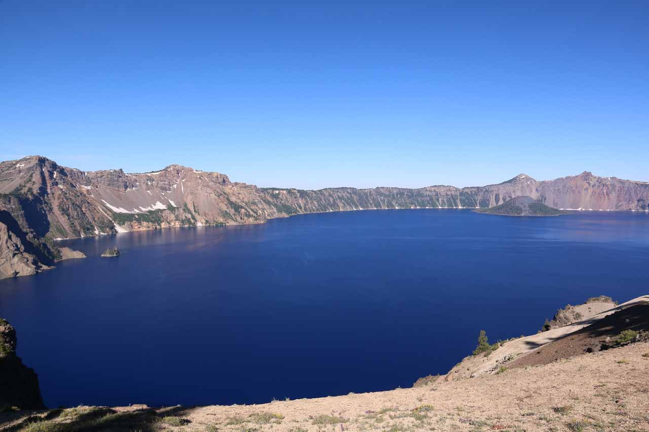 On our second visit to Crater Lake in 2016, we continued beyond Vidae Falls and the Phantom Ship and drove around the East Rim, yielding different views of the sapphire blue lake like this one