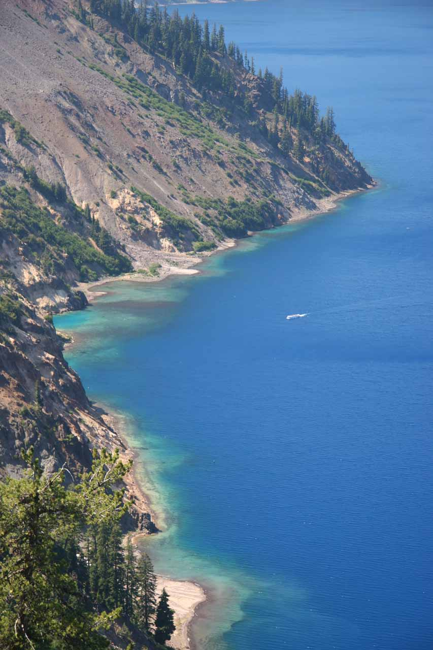 View of some color on the shores of Crater Lake as we walked to Phantom Ship viewpoint