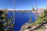 Crater_Lake_116_07152016 - Contextual view of Crater Lake and a lone boat cruising towards Wizard Island