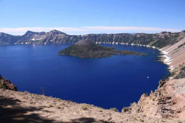 Crater_Lake_140_07152016 - Crater Lake was perhaps the most famous example of volcanism in the Southern Cascades as a specific chain of events caused Mt Mazama to collapse and allow precipitation to fill in causing the lake