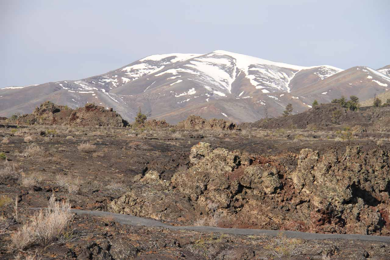 Snowy mountains backing the North Crater lava flow