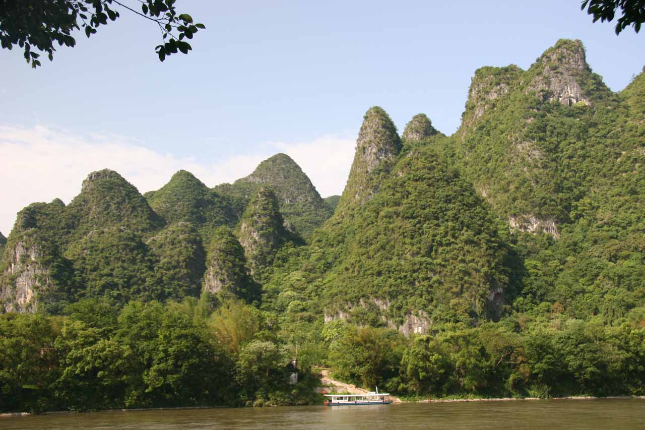 Karst mountains and the Li River near the Crown Cave